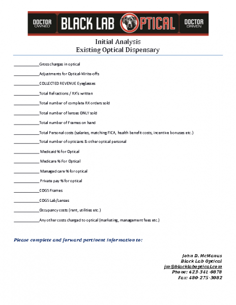 j. Initial Cost Analysis Optical Dispensary